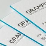 グムンドコットンを使用した活版印刷名刺と小口染め加工