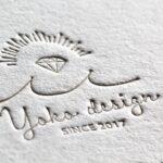 両面活版印刷 小口染め 名刺|マットスミ、青口金