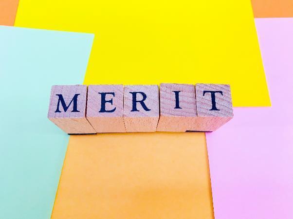 「MERIT」と書かれたブロック